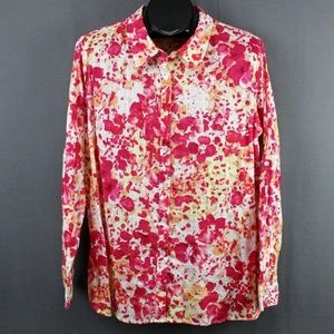 White Stag Button Front Shirt XXL Pink Floral